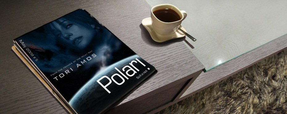 Polari Magazine, LGBT arts and culture magazine, with Tori Amos, on a coffee table
