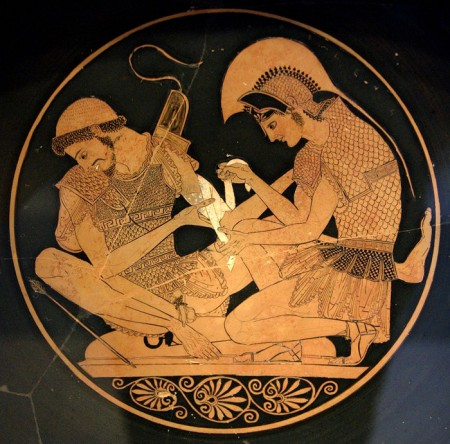 achilles attends wounds of patroclus, red figure cup