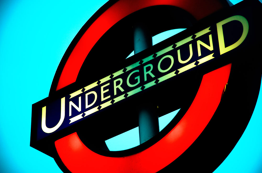 Underground Sign On Cyan