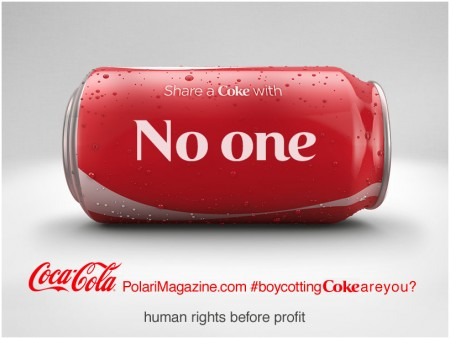 Boycott Coke image: share a Coke with no-one