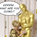 "A detail from a photographic image of Meryl Streep putting her hand on the genital area of a giant Oscar statuette. The statue does not look amused and looks down at Meryl Streep and exclaims, ""Errrm.... What are you doing?"""